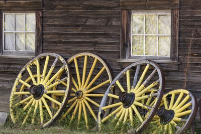 Canada, British Columbia, Barkerville. Wagon wheels.