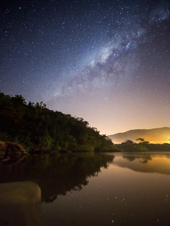 Itamambuca beach, Ubatuba, Brazil at night with the milkyway visible.