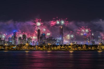 Fireworks over Melbourne city skyline as seen from Port Philip Bay on New Year's Eve 2017.