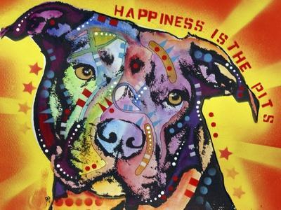 Happiness Is The Pits Sunray, Dogs, Pets, Pit Bull, red and yellow, Pop Art, Stencils, Motivational