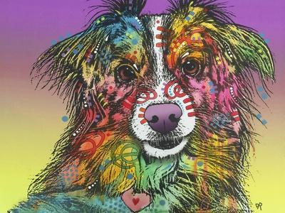 The Look, Dogs, Pets, Animals, White Snout, Purple yellow, Long hair, Pop Art, Stencils, Colorful
