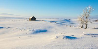 Winter frost covers a ranch in the interior of British Columbia