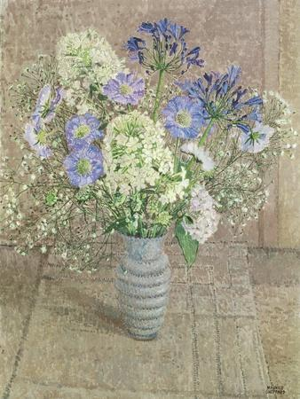 Still Life with White Phlox, Blue Agapanthus and Scabious