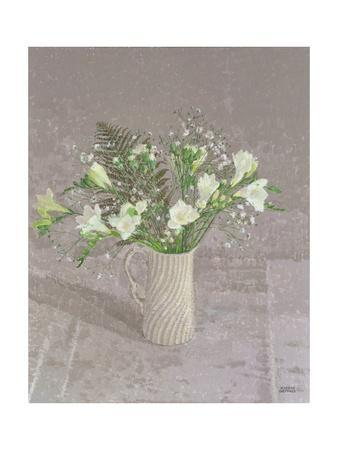 Still Life with Freesias, White Carnation and a Fern