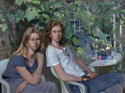 Portrait of two girls, seated indoors, with grapevine, 1993