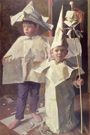 The Newspaper Boys, the artist's sons William and George, 1960