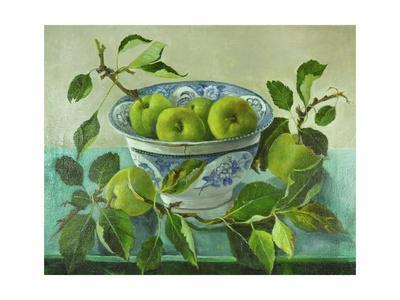 Apples and blue Bowl