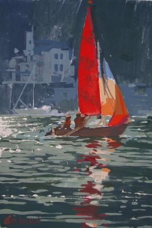 Red sail boat Salcombe - gouache - 2008
