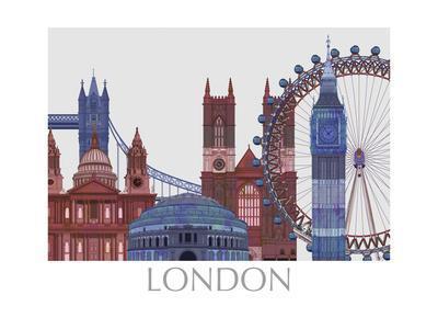 London Landmarks , Red Blue