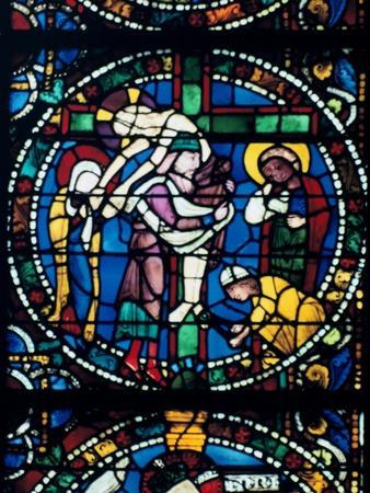 The Descent from the Cross, stained glass, Chartres Cathedral, France, 1194-1260. Artist: Unknown