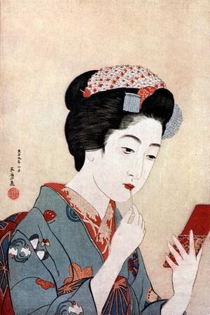 'A Woman with a Beni Brush', c1900-1921.Artist: Hashiguchi Goyo