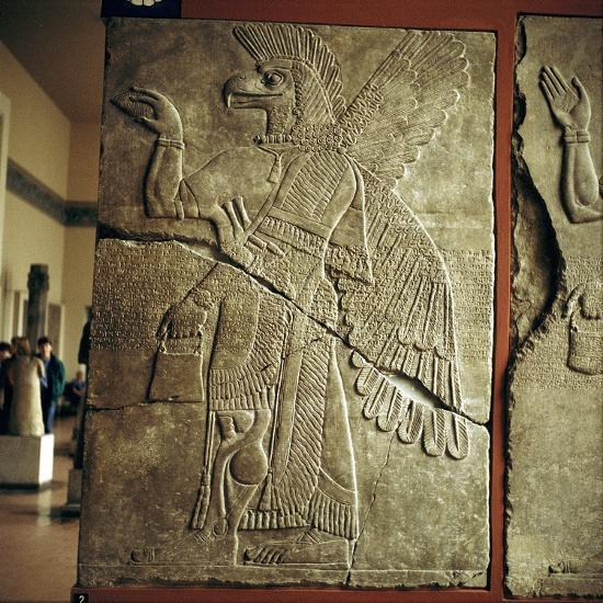 Assyrian relief of winged genie carrying a cedar cone. artist