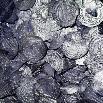 Hoard of silver & Arab coins from a Viking grave, Sweden, 10th century. Artist: Unknown