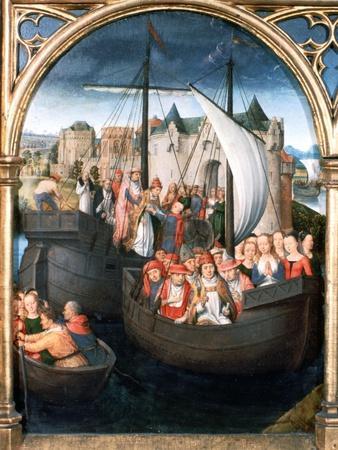 'St Ursula Shrine, Departure from Basle', 1489. Artist: Hans Memling
