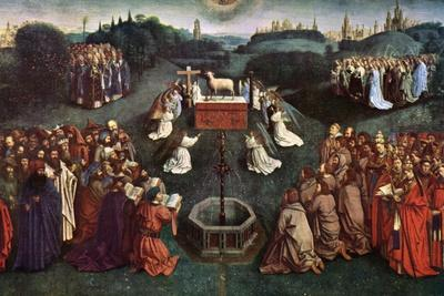 'The Adoration of the Mystic Lamb', The Ghent Altarpiece, 1432, (c1900-1920).Artist: Jan van Eyck