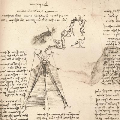 Diagram illustrating the theory of light and shade and sketches of figures, c1472-c1519 (1883)