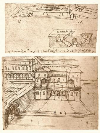 Two drawings of plans for towns, c1472-c1519 (1883)
