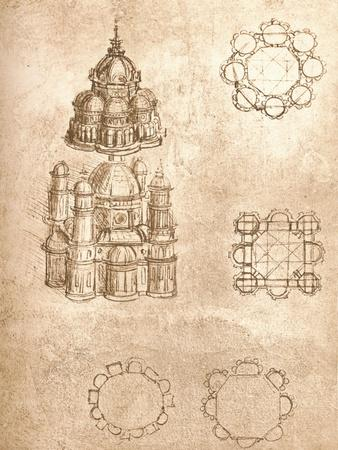 Drawing of churches, c1472-c1519 (1883)