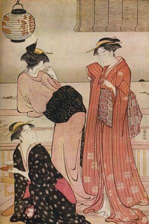 'Three girls on the veranda of a tea-house overlooking Edo Bay at Shinagawa', c1752-1815