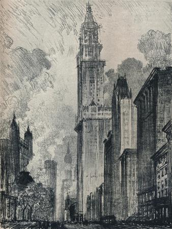 'The Broadway and the Woolworth Building, New York', 1912