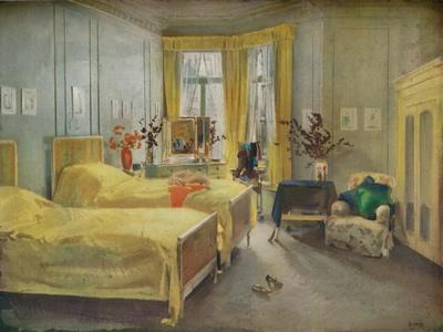 An Interior Scene: a bedroom designed by Mme. Gloria Silva at the Hotel Metropole, London, (1922)