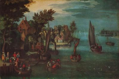 'A Busy River Scene with Dutch Vessels and a Ferry', c1605