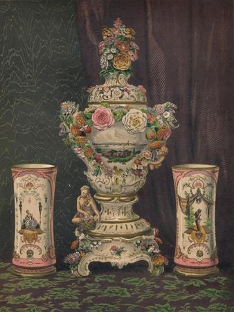 'Vase of Dresden Porcelain and Pair of Porcelain Beakers', 1863