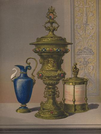 'Silver Gilt & Jewelled Vase, Porcelain Vase, Cigar Casket', 1863