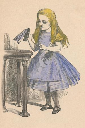 'Alice looking at the bottle with the sign 'drink me''', 1889