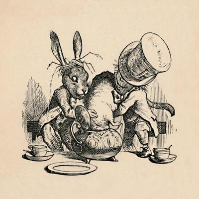'The Mad Hatter and March hare trying to put the Dormouse into a teapot', 1889