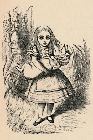 'Alice holding a pig in her arms', 1889