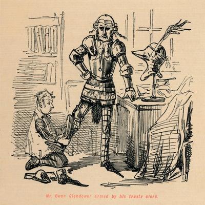 'Mr. Owen Glendower armed by his trusty clerk', c1860, (c1860)