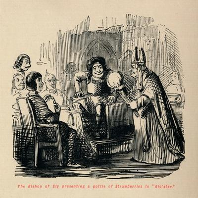 'The Bishop of Ely presenting a pottle of Strawberries to Glo'ster.,