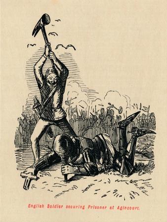 'English Soldier securing Prisoner at Agincourt', c1860, (c1860)