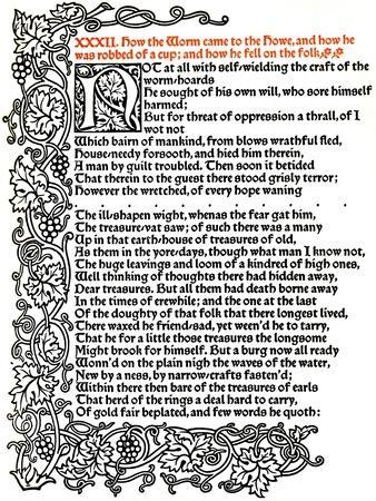 'Kelmscott Press: Page from The Tale of Beowulf Printed in the Troy Type', c.1895, (1914)