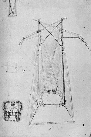 'Study of Motive Apparatus of Flying Machine with Ground Plan of Mechanism of Base', 1928