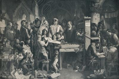 'Caxton Showing the First Specimen of his Printing to King Edward IV', c1858, (1911)