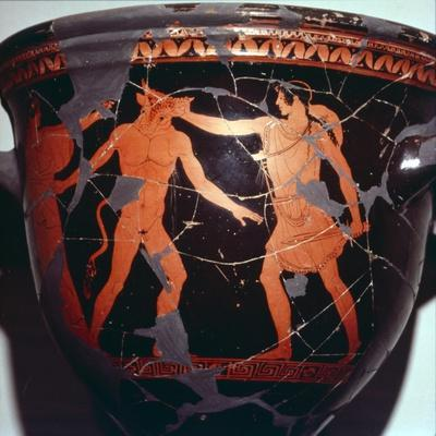 Theseus kills the Minotaur (with Ariadne present), Greek Vase painting, 5th  Century BC
