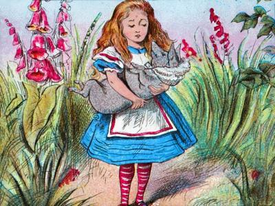 'Alice holding a pig in her arms.', c1910