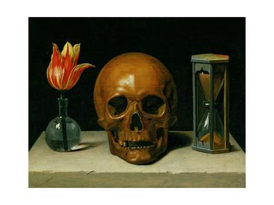 Vanitas, allegory of fleeting time with skull and hour-glass. Oil on canvas.