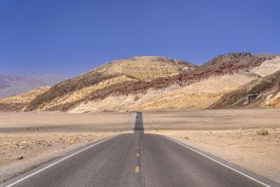 The USA, California, Death Valley National Park, Badwater Road with Amargosa Range