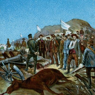 'In Cronje's Laager after Surrender', 1900