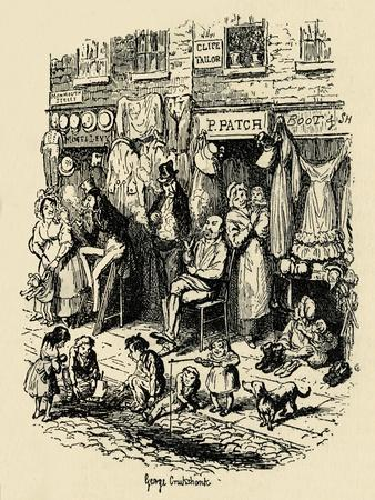 'Monmouth Street, Soho, an illustration by G. Cruikshank for Dickens' Sketches by Boz. ', (1938)