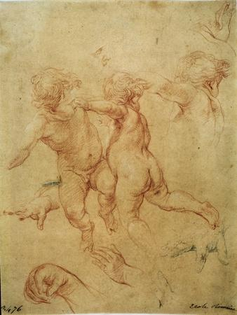 'Two flying putti', study, 1740s