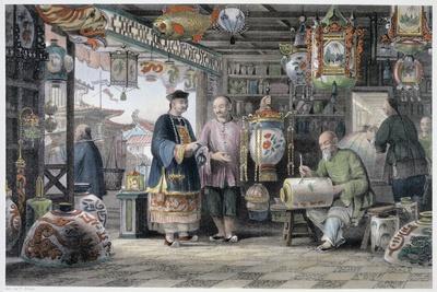'Showroom of a Lantern Merchant in Peking', China, 1843