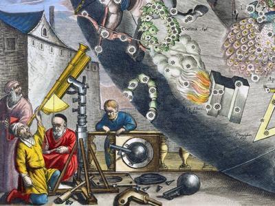 Astonomers looking through a telescope, 1660-1661