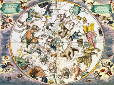 Celestial planisphere showing the signs of the zodiac, 1660-1661