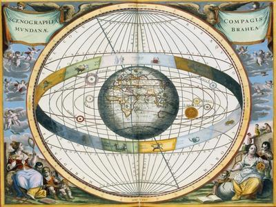 Map showing Tycho Brahe's system of planetary orbits around the Earth, 1660-1661
