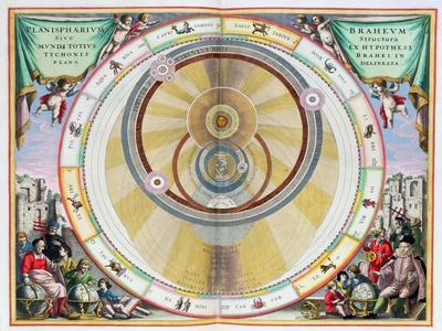 Map showing Tycho Brahe's system of planetary orbits, 1660-1661