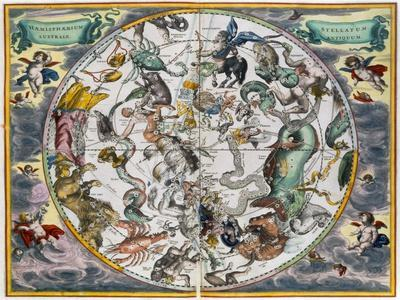Map of the celestial Southern Hemisphere, 1660-1661